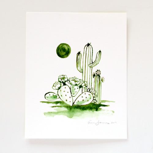 "Green & Gold Desert Scene Original Watercolor, 8""x10"""