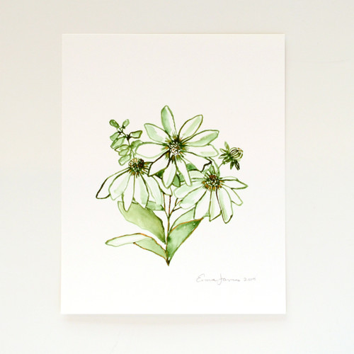 "Green & Gold Wildflower Bouquet Original Watercolor, 8""x10"""