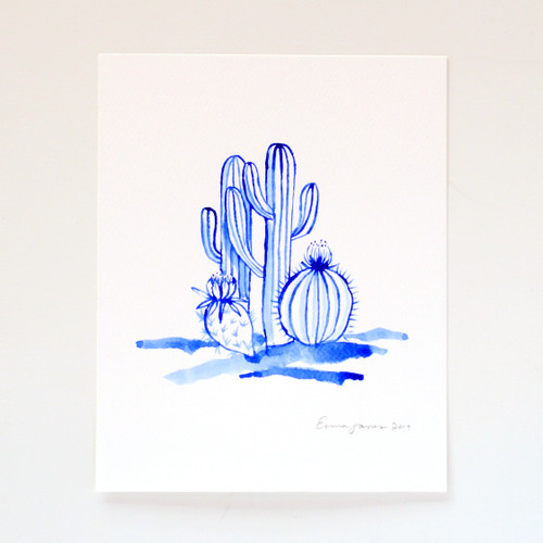 "Saguaro Twins Original Watercolor, 8""x10"""