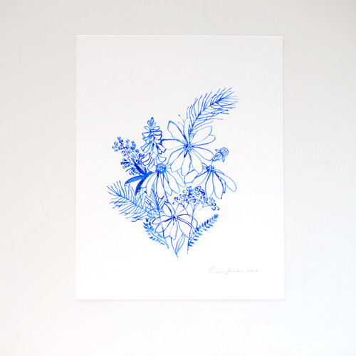 "Blue Wildflowers Original Watercolor, 11""x14"""