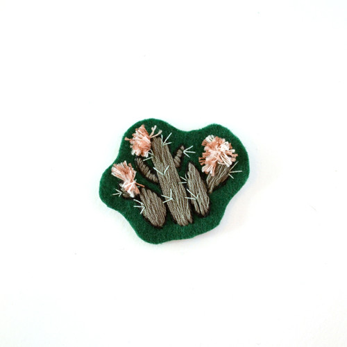 Mini Hand Embroidered Patch, Green Blooming Cactus