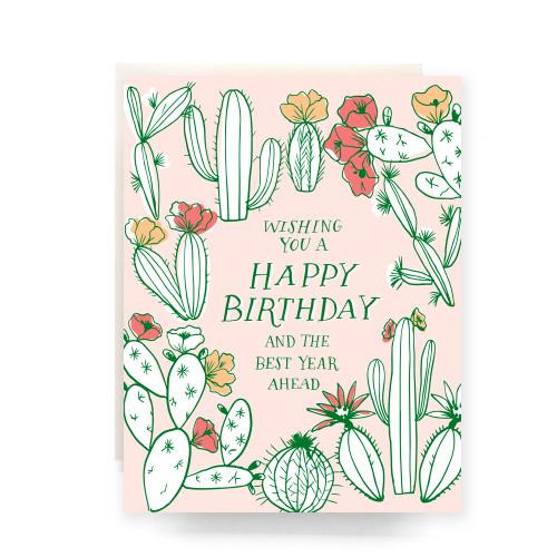 Cactus Toile Birthday Greeting Card