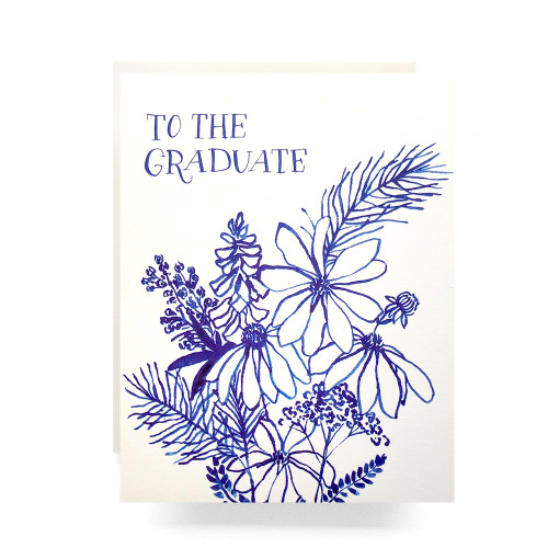 Indigo Wildflowers Graduate Greeting Card