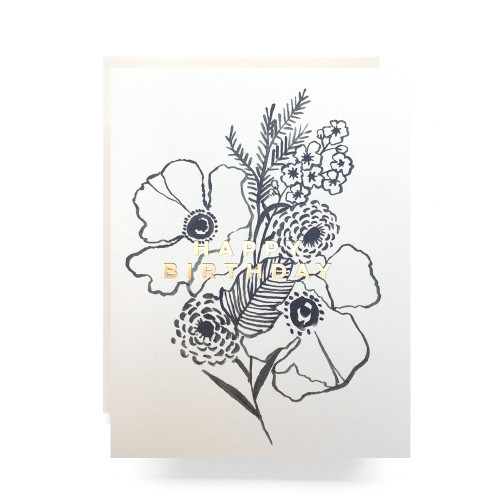 Poppy Bouquet Birthday Greeting Card