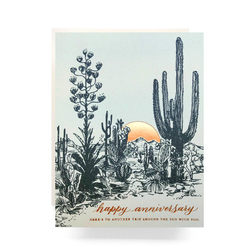 Cactus Sunset Anniversary Greeting Card