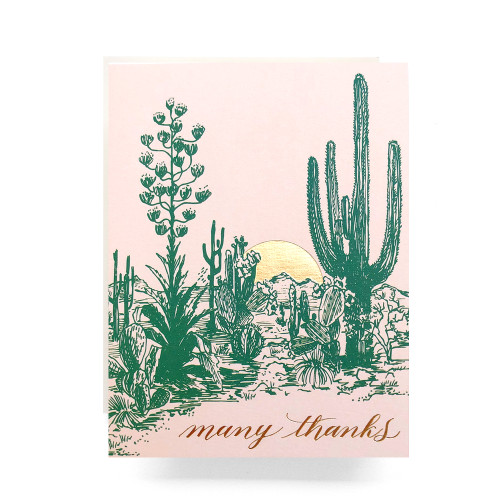 Cactus Sunset Thank You Greeting Card