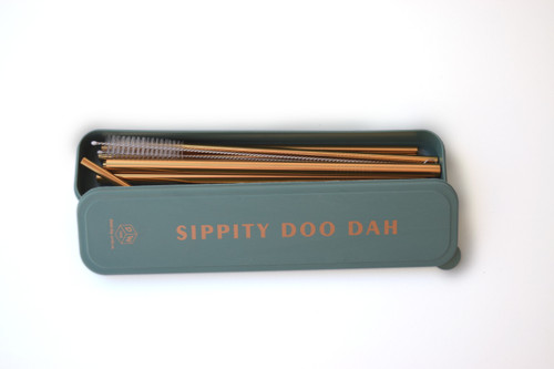 """Stainless Steel Gold Straw Set- """" Sippity Doo Dah"""" Forest Green"""