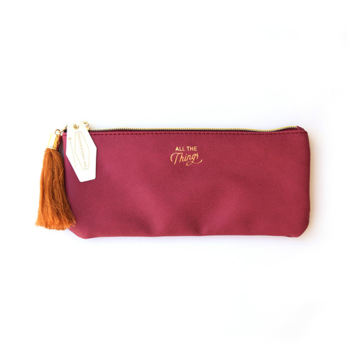 """Pencil Pouch, Burgundy """"All the Things"""""""