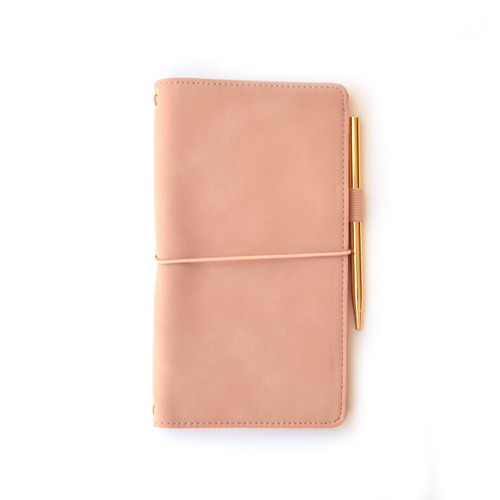 Vegan Leather Journal with Gold Pen, Dusty Pink
