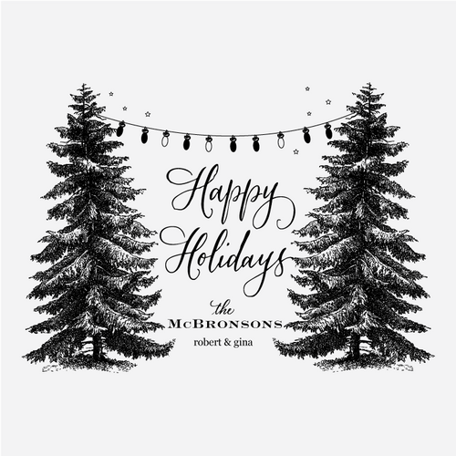 """Trees & Lights"" Holiday Greetings Rubber Stamp"