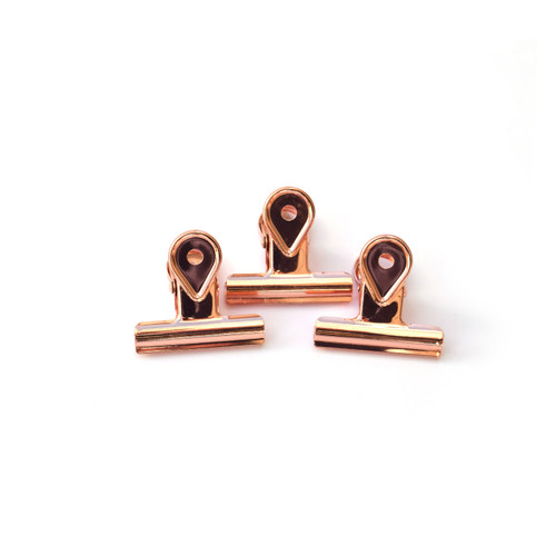 Rose Gold Binder Clips- Small- Set of 3
