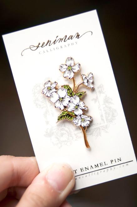 Dogwood Gold Soft Enamel Pin