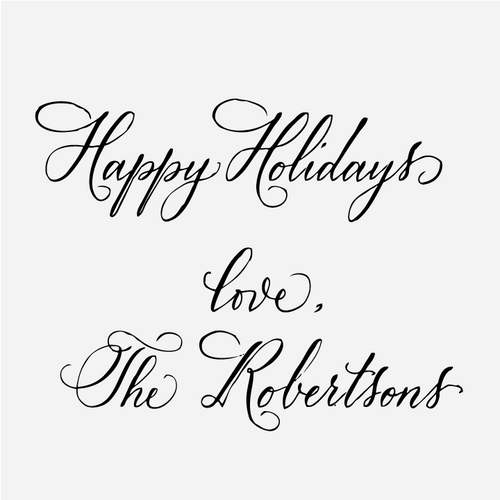 Custom Calligraphy Happy Holidays with Love Stamp