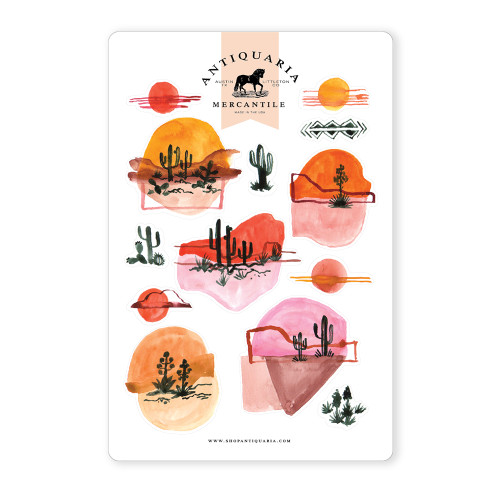 Watercolor Cactus Landscapes Sticker Sheet