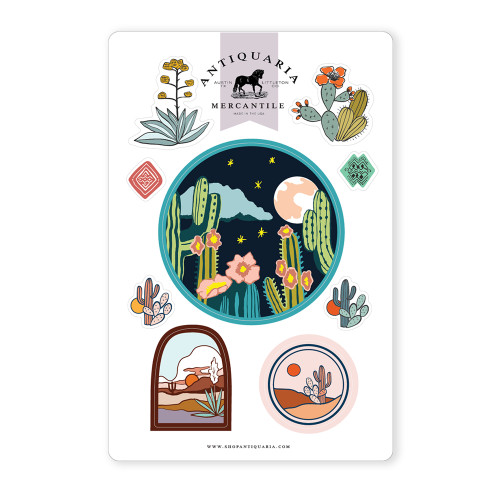 Night Cactus Sticker Sheet