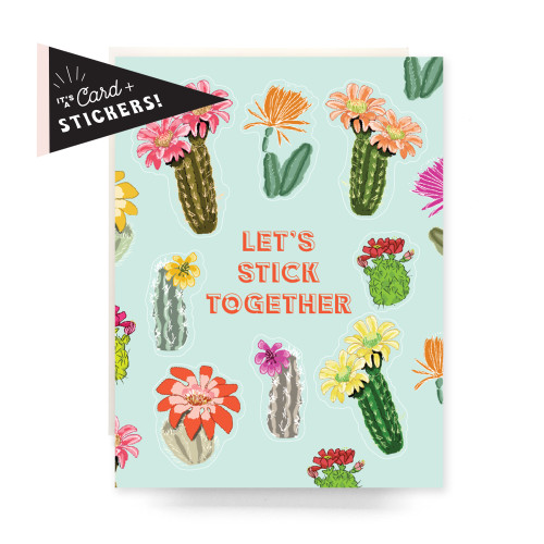 Sticker Sheet Greeting Card: Stick Together Cactus