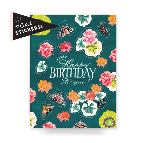 Sticker Sheet Greeting Card: Geranium Birthday