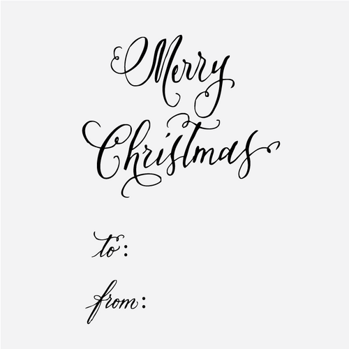 """""""Merry Christmas"""" Gift Tag Rubber Stamp"""
