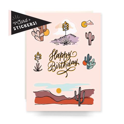 Sticker Sheet Greeting Card: Peach Cactus Birthday
