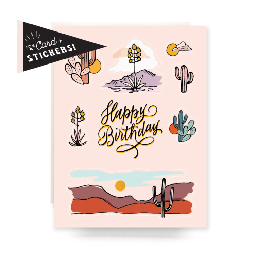 Sticker Sheet Greeting Card: Peach Cactus Birthday