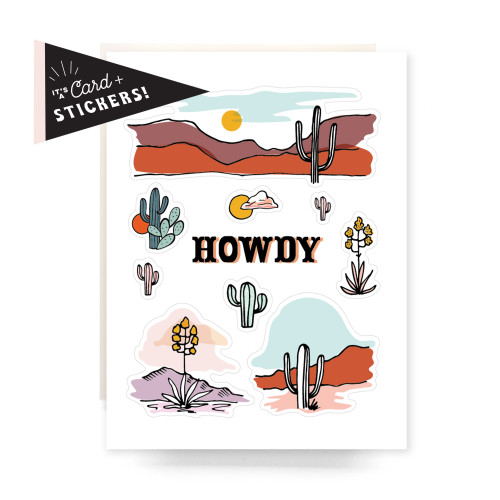 Sticker Sheet Greeting Card: Howdy Cactus