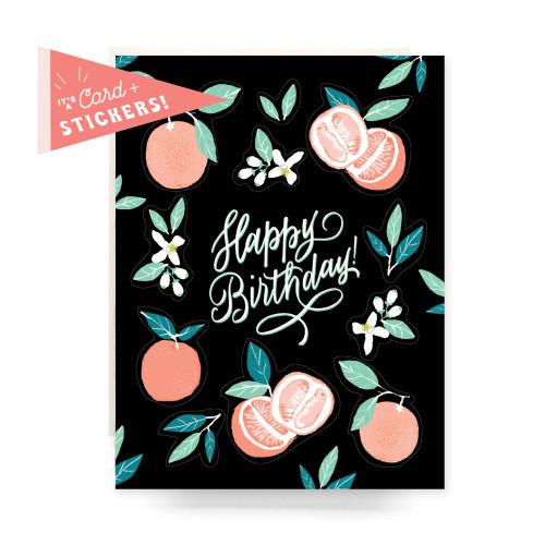 Sticker Sheet Greeting Card: Grapefruit Birthday