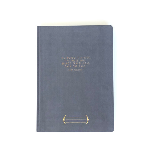 """THE WORLD IS A BOOK"" Cloth Covered Notebook"