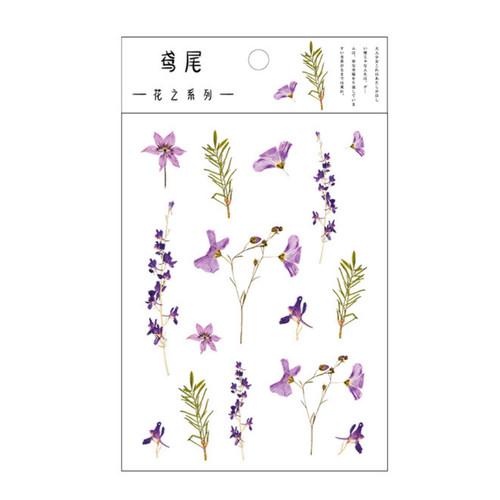 Pressed Flower Stickers   Purple Blooms & Rosemary