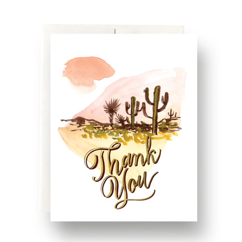 Abstract Cactus Thank You Greeting Card