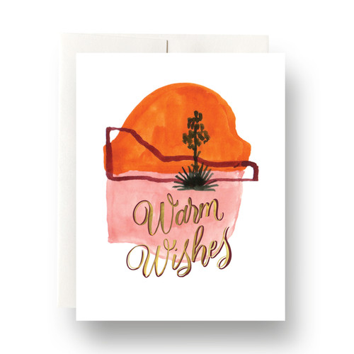 Abstract Cactus Warm Wishes Greeting Card