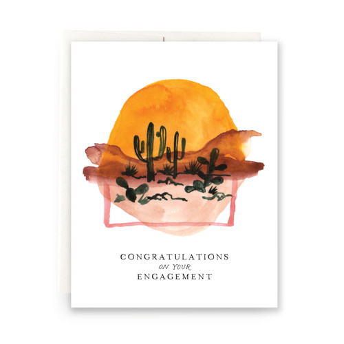 Abstract Cactus Engagement Greeting Card