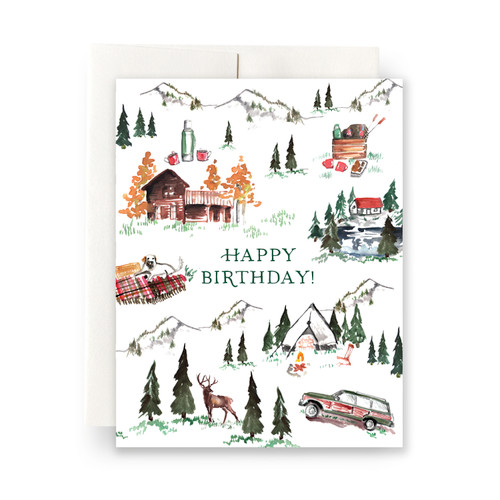 Alpine Lodge Birthday Greeting Card