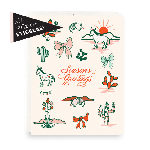 Sticker Sheet Greeting Card: Cactus Seasons Greetings