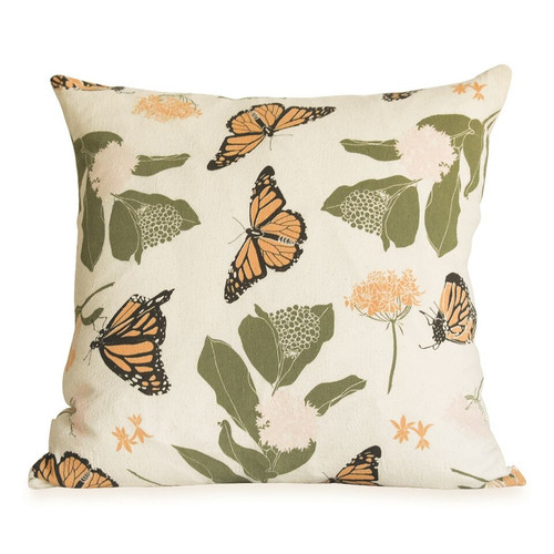 Monarchs + Milkweeds Pillow Cover Only