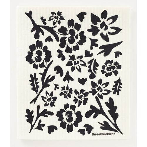 Black Flora Swedish Dishcloth