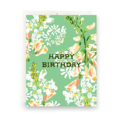 Green Floral Birthday Greeting Card
