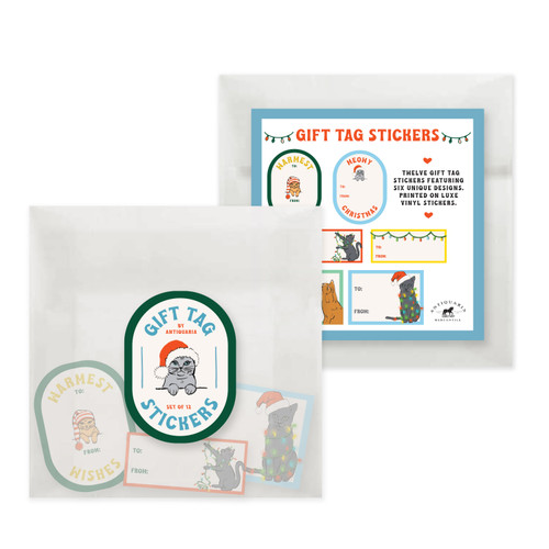 Gift Tag Stickers: Christmas Kitty