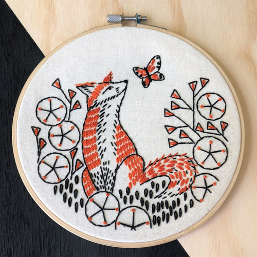 Fox in Phlox Embroidery Kit