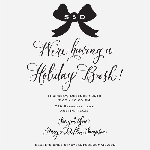 """""""Holiday Bow"""" Invitation Rubber Stamp"""