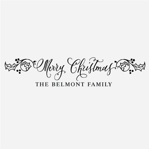 Merry Christmas Holly Berry Greeting Rubber Stamp