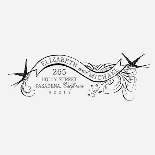 Birds & Banners Return Address Stamp