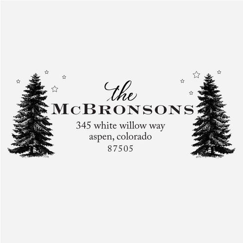 """Trees & Lights"" Return Address Rubber Stamp"