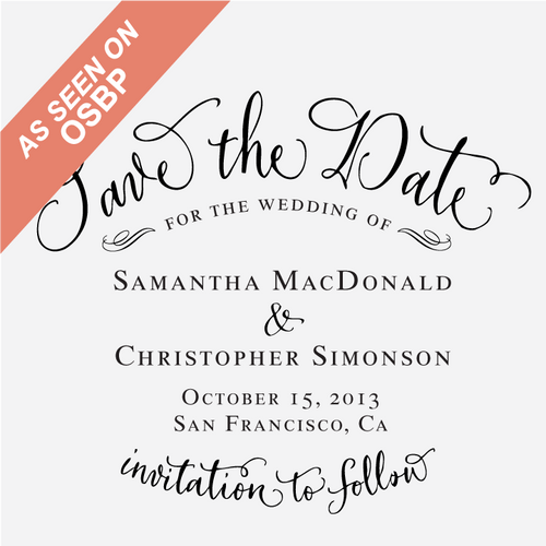 """Vintage Calligraphy"" Save the Date Stamp"