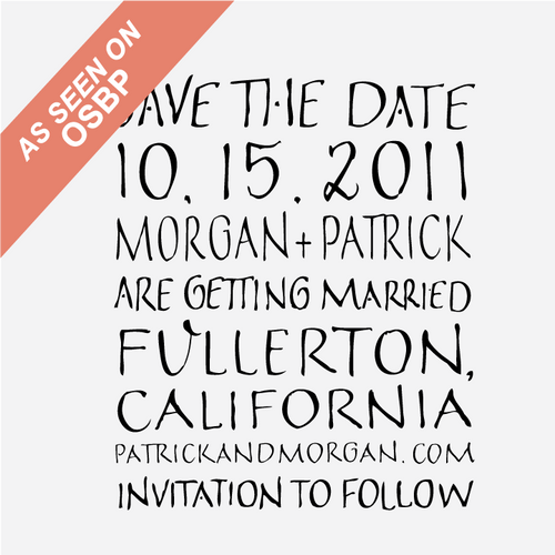 """Art Deco"" Hand Lettered Save the Date Stamp"