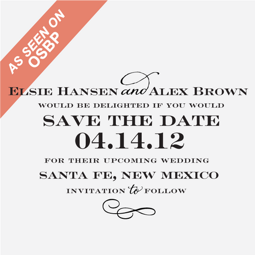 """Sophisticate"" Save the Date Stamp"