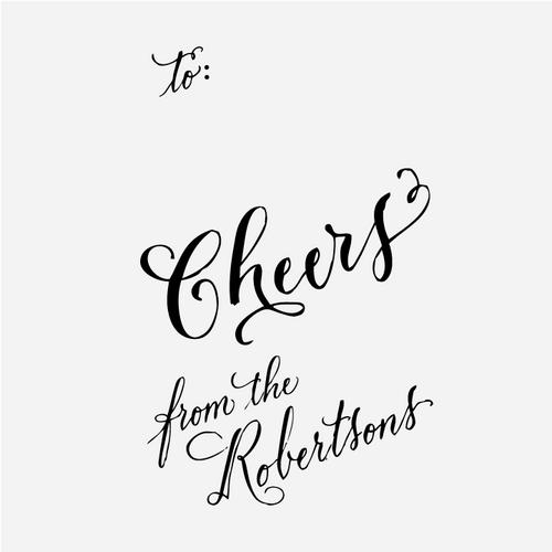"""""""Cheers"""" Custom Calligraphy Gift Tag Rubber Stamp"""