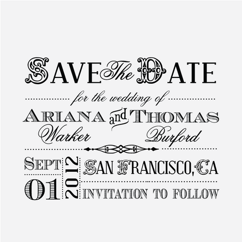"""Old West Block"" Save the Date Stamp"