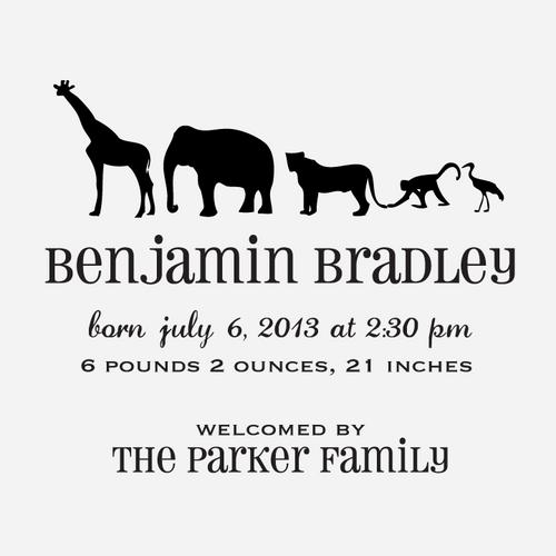 """Animal Train"" Birth Announcement Date Stamp"