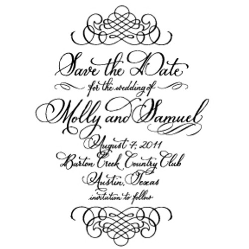 """Traditional"" Calligraphy Save the Date Stamp"