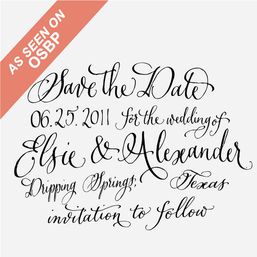 Calligraphy Save the Date Stamp